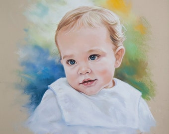 Pastel portrait of a baby boy , Custom Pastel Portrait from photography