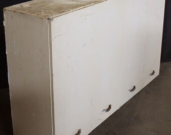 """2 available 50""""x13""""x30""""H Vintage Wall-Mounted Metal Kitchen Cabinet w 4 Doors"""