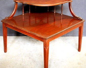 28 X28 Vintage Mahogany 2 Tier Corner End Table
