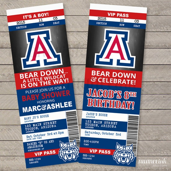 University Of Arizona Birthday Party Ticket By NuanceInk