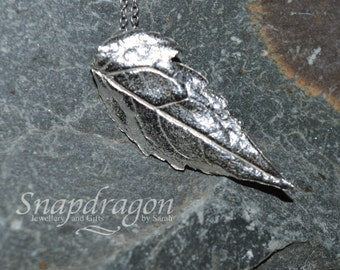 PMC fine silver leaf pendant necklace.
