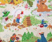 Vintage SESAME STREET Camping Twin Size Sheet (for fabric only)