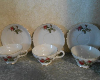 3 Collectible Very Fine China Cup & Saucer Set