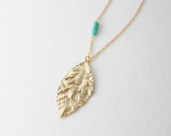 Gold leaf necklace // Long necklace