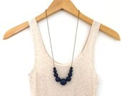 Navy blue necklace, graduated wood bead necklace, beaded necklace, mom necklace, fall jewelry, simple necklace, colored bead necklace