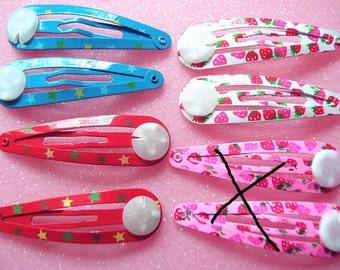 12pcs Mixed colors hair  clips Snap Clips  flat pad-10mm Length -48mm
