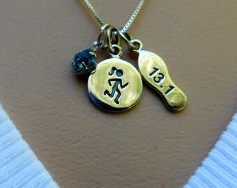 Sterling silver marathon necklace, 1/2 marathon, athlete necklace, birthstone necklace, personalized jewelry
