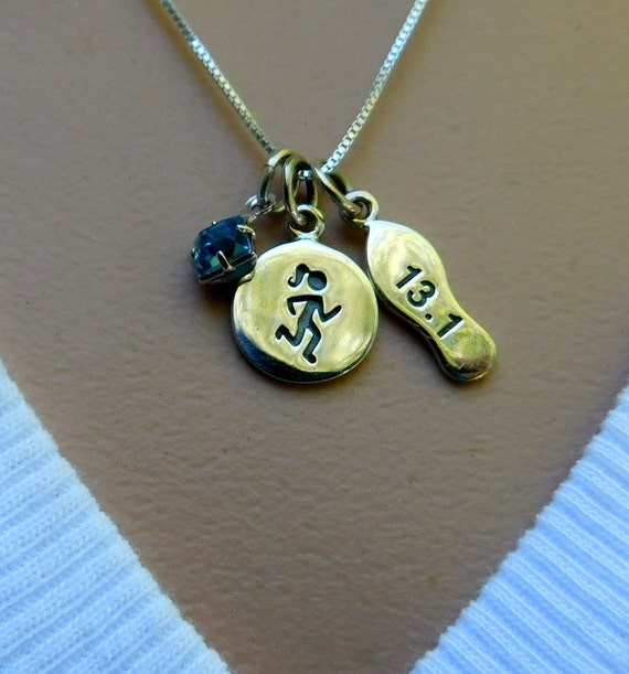 Sterling silver marathon necklace, 1/2 marathon, athlete necklace, birthstone necklace, personalized jewelry