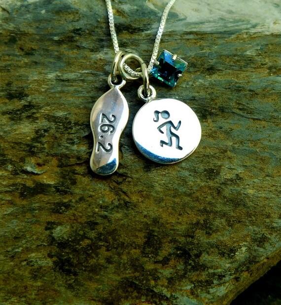Sterling silver marathon necklace, 26.2 marathon, athlete necklace, birthstone necklace, personalized jewelry
