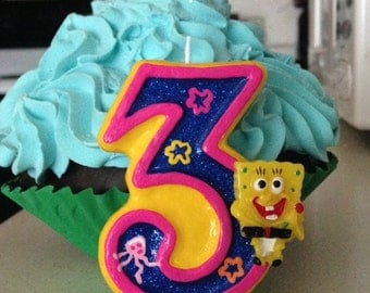 3 inch Spongebob Squarepants birthday candle - any number or color