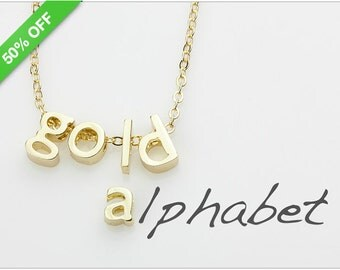 50% Off - Gold Lower Case Letter, 14K Gold Plated Alphabet Bead, Personalized Initials, 8mm, B0LD.GO01.S01