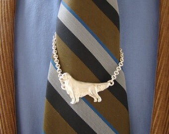Sterling Silver Golden Retriever Standing Study Tie Chain