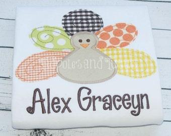 Turkey Tshirt, Tee, or Bodysuit, Personalized Raggy Turkey Applique, Turkey Applique Shirt