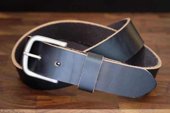 "Custom sized belt - 1.25"" width - Horween Chromexcel leather - heel bar buckle - black chromexcel"