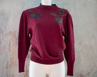 Vintage 80s woman burgundy  sweater /   wine red  green floral application sweater top/  M