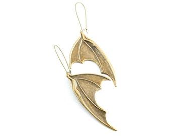 Large Antiqued Brass Bat Wing Earrings, Dragons Wings Earrings, Neo Victorian Gothic Earrings, Large Vampire  Wing Earrings