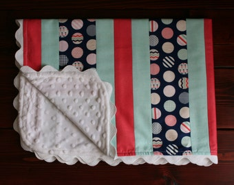 Navy and Coral Baby Blanket with Minky