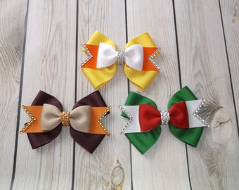 Holiday Themed Hair Bows,Christmas Bow, Thanksgiving Bow, Halloween Bowows,Grosgrain Bows, Large Hair Bows,Girl Bow, Bows,Ribbon Bows