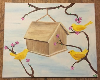 Yellow Canary and Bird House Painting