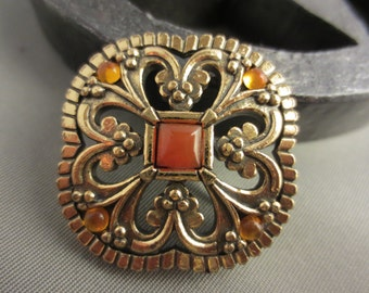 Vintage Antique Gold-Plated MIRACLE Brooch with Topaz Glass Crystals