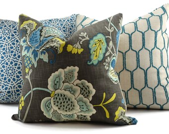 Charcoal, Shades of Blue, Off White Linen Jacobean Floral Pillow Cover, Throw Pillow, Accent Pillow, 18x18