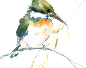 Green Kingfisher art, original watercolor painting, common kingfisher, 12 x 9 in