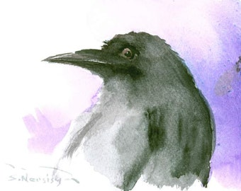 Crow Art, Raven art, original watercolor small painting, 7 X 5 in, black and white art, crow lover, raven lover
