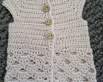 Crochet Cardigan for MSD ball jointed dolls In Natural