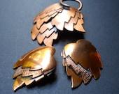 Copper Leaves RENOIR Brooch & Earrings, Autumn Set, Vintage