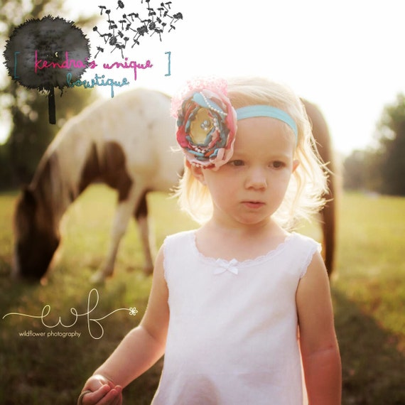Pink & Blue Satin Flower Headband!