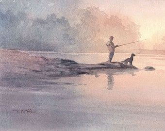 Boy and His Dog Friend  Art print of Watercolor Painting - Fishing, Child, Pet, Boy's Room, Friendship, childhood, Companion