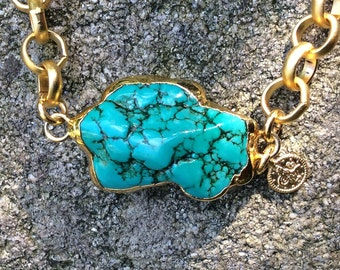 22k gold plated chunky necklace with raw turquoise stone feature