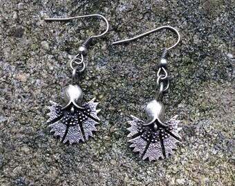 Antique silver tulip flower earrings