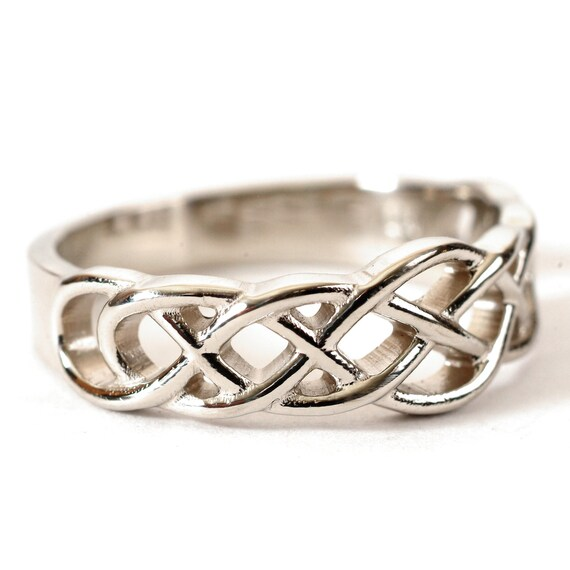 Celtic Wedding Ring With Woven Knotwork Design in Sterling Silver, Made in Your Size CR-763