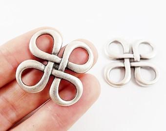2 Celtic Square Knot Pendant Connector - Matte Antique Silver Plated -