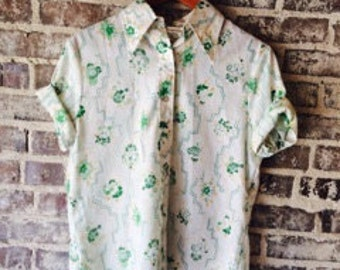 Vintage Button Up Tee Shirt