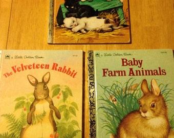 Three cute furry animal Little Golden books