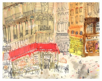 PARIS Cafe PRINT, French Illustration, Cafe Wall Art, 8 x 10 inch, Parisian Buildings, Pavement Cafe, Bistro France Watercolor Sketch, Metro