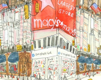 MACYS PRINT New York Illustration, NYC Wall Art, 8 x 10 Print, Manhattan Shops, City Buildings, Watercolor Sketch, New York Painting Sketch