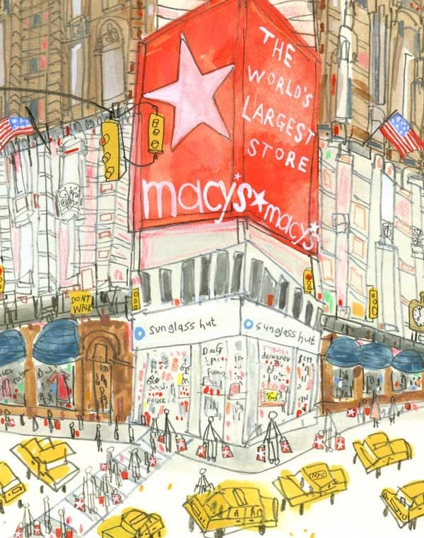 Macys print new york illustration nyc wall art 8 x 10 inch for Craft stores in nyc