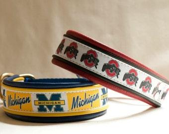 Michigan State University Leather Dog Collar