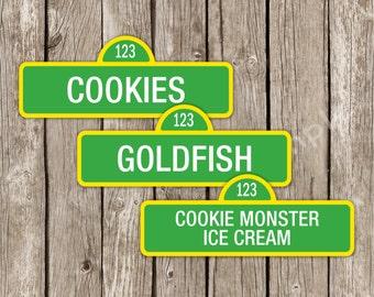 Sesame Street Food Labels - Sesame Street Birthday Party - Editable Printable - Instant Download