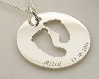 Silver Baby Feet Disc Personalised Pendant + Chain Option - Christening Gift for New Mum Mom - Newborn Gift - New Baby Keepsake Gift