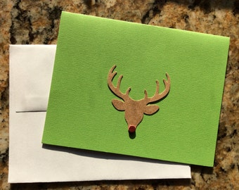 Rudolph Reindeer Christmas Cards, set of 4, with envelopes, blank inside