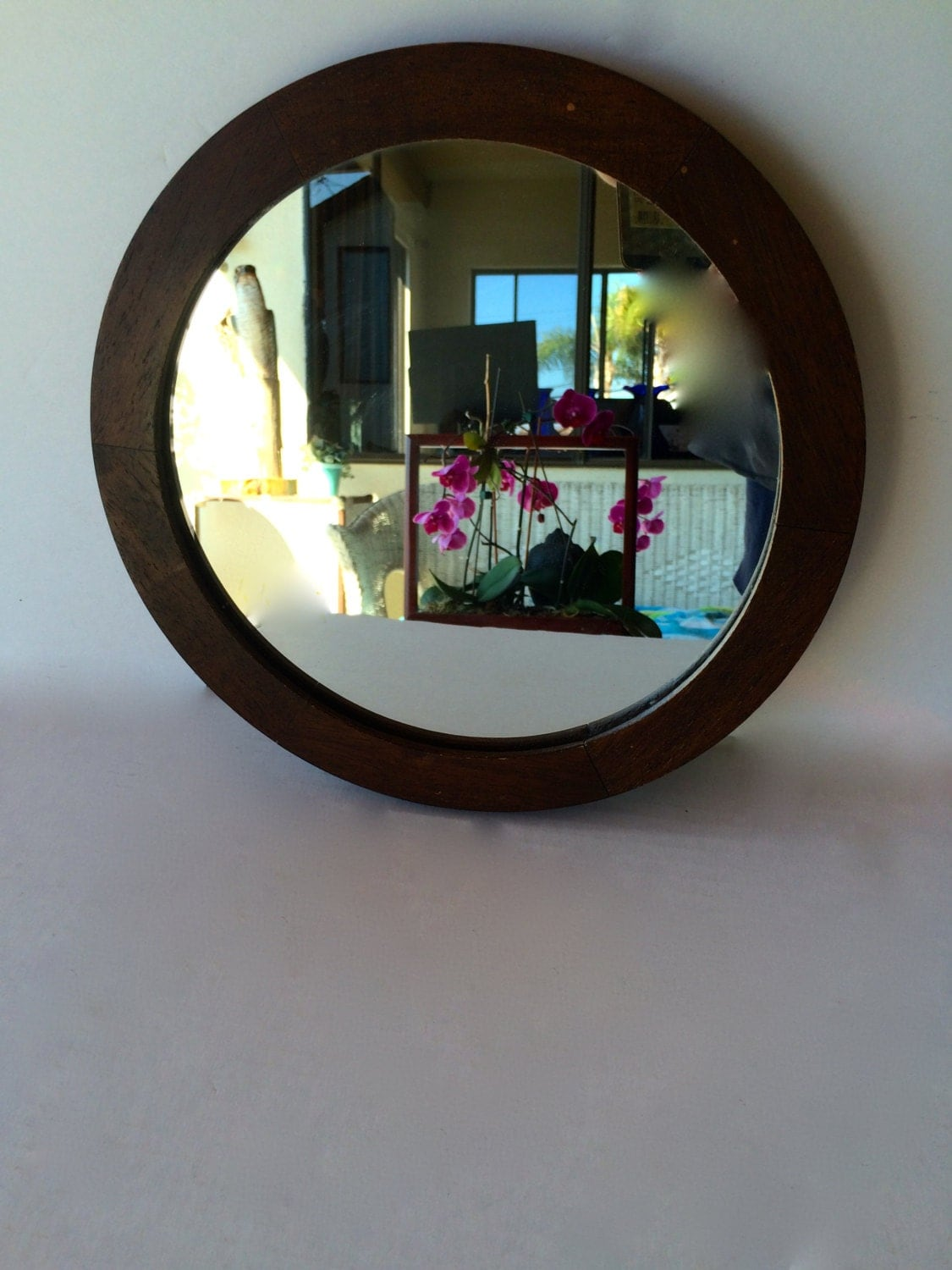 Antique round mirror vanity mirror wood framed round mirror Round framed mirror