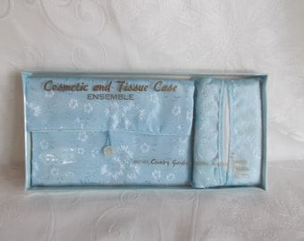 Vintage NOS Baby Blue Cosmetic And Tissue Case By Country Garden