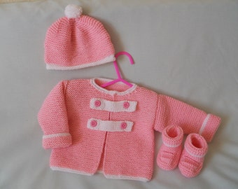 Hand Knitted  Baby Coat, Jacket, Hat and Booties Set, Baby Girl Gift, Baby Shower Gift