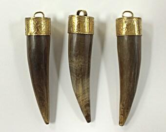 Bone Horn Tusk tooth Pendant with Antique Brass Cap Tan 2- 2.5 Inch, Tibet Pendant, Choose Quantity - AP154