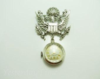 Leora Helbros Ladies Sterling Silver Lapel Watch 1920's Swiss 7 Jewel Manual Wind Movement
