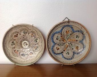 Vintage Studio Pottery Wall Hanging Plates